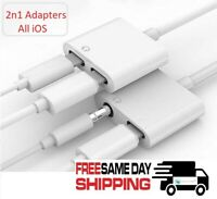 2n1 8 Pin to 3.5mm / Dual 8 PIN AUX Adapter Headphone Jack For iPhone X 7 8