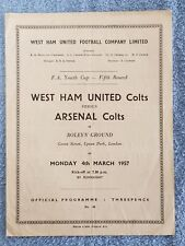 1957 - WEST HAM UTD v ARSENAL PROGRAMME - FA YOUTH CUP 5TH ROUND - 56/57