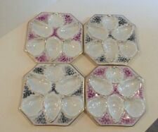 SET/4 ANTIQUE AUSTRIA OCTAGONAL 5-WELL EMBOSSED OYSTER PLATES with GOLD TRIM