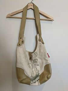 Early nancybird cotton shoulder bag with leather strap and press stud closure