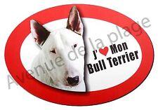 """Magnet chien """"J'aime mon Bull Terrier"""" pour frigo/voiture idée cadeau NEUF"""