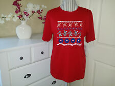 Donn Kenny Ladies Red with White/Blue Print Knit Top Short Sleeve Size S (M)