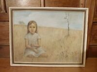 Large Vintage Oil painting on canvas girl child field portrait signed E. Gigi ?