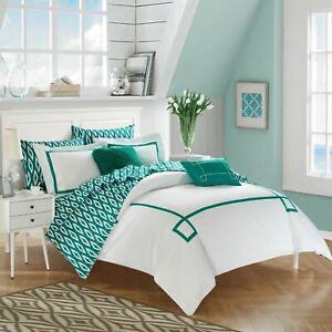 Aqua Blue White Geo Greek Key 9 pc Comforter Set Twin XL Full Queen King Bedding
