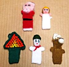 5 Christmas Finger Puppets Santa Angel Snowman Tree & Reindeer Handmade in Peru