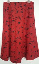 424 Fifth Lord & Taylor Red Black Floral Midi Flare Skirt MSRP $188 Size 10