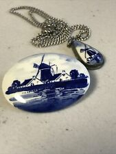 Delft Blue Holland Windmill Brooch Pin & Pendant Necklace Vintage