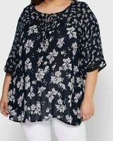 Evans ladies blouse top plus size 20 22 boho blue tie neckline crochet trim