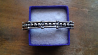 Vintage Taxco Sterling Silver Beaded Hinged Bracelet Eagle 3 ~ 50 Grams