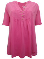 S Oliver ladies t-shirt top plus size 22 24 26 28 pintuck button neck design