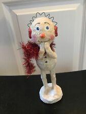10� Christmas Snowman Red tinsel scarf Monnie Wilson Papier Mache Retired