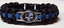 Police; Thin Blue Line - Law Enforcement Handmade Punisher Paracord Bracelet #2