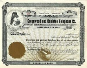 190_ Greenwood and Canisteo Telephone Company Stock Certificate