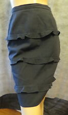 Vintage KRIZIA Off Black Wrapped Ruffle Straight Skirt Made In Italy 40 6