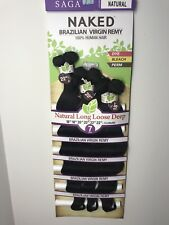 SAGA NAKED BRAZILIAN VIRGIN REMY 100% HUMAN HAIR NATURAL LONG LOOSE DEEP 7PCS