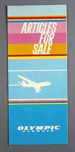 OLYMPIC AIRWAYS ARTICLES FOR SALE DUTY FREE AIRLINE BROCHURE BAR PRICES 1982