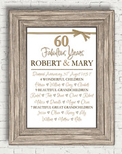 Personalised 60th Anniversary Diamond Wedding Present Gift (A4 Print Only)