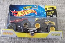 Off Road Monster Jam Demolition Doubles Wolverine and Iron Man Trucks