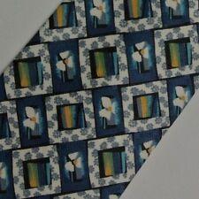 Blue White Orange Abstract  Floral Silk Tie