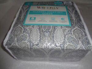 """WAVERLY XDeep flannel Queen Sheet set PAISLEY 16"""" mattress 100% Turkish Cotton"""
