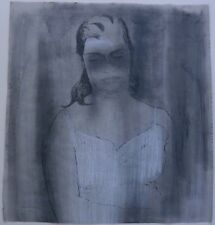 Woman in Slip with Eyes Lowered- M/M Drawing-1972-August Mosca