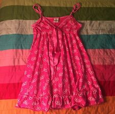 Victoria's Secret Pink Sleep Dress Nightgown Small S Dog Heart Logo Print Ribbon