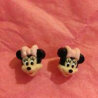 Disney Minnie Mouse Earrings Pink Children Girls Pierced Post Earrings