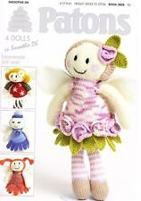 Patons Knitting Pattern Book 3806 knitted fairy flower dolls  DK + free needles