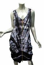 XCVI Saltator Dress Tie Dyed Sz XL Zip Front Bodycon Shirred Stretch Black Gray