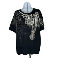 Xzavier Unlimited Mens Tshirt Size 2XL Black White Graphic Wings Print Tee