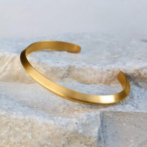 18 Kt Stamped Genuine Real Solid Yellow Gold Men's Glossy Cuff Bracelet 30 Grams