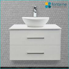 Omega 750 Bathroom Vanity Ceramic Basin Stone Top NEW Modern Ensuite Wall Mount