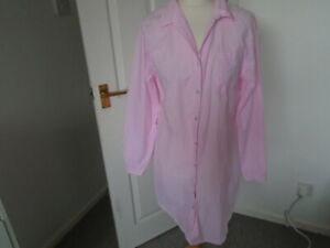 Bright candy pink and white striped long sleeve nightshirt, F&F, size 12-14