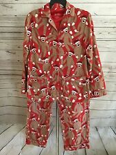 Nick and Nora Santa Sock Monkey Flannel Pajama Set Red Size Small