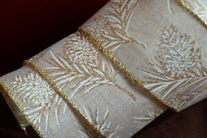 """Wire Edged Gold Pinecone Burlap Glitter Tree Wired Ribbon 2.5"""" Wreath Christmas"""