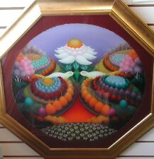 """IVICA FISTER: """"Turtle Doves""""; Croatian Naive Art, reverse glass paintings"""