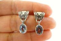 Blue Topaz Solitaire 925 Sterling Silver Dangle Drop Stud Post Earrings