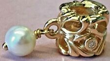 PANDORA 14K GOLD PANDORAS SECRET WHITE PEARL DIAMOND CHARM NEW 750460D RARE