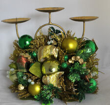 Pillar Candle Holder Majesty Of God Filipino Gold Green Christmas Holiday Winter
