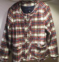 Lands End Wool Blazer Sz 22W White Red Blue Plaid Fringe Trim Jacket Women's