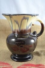 VINTAGE WEST GERMAN POTTERY brown and ivory dripware jug ceramic 572/17