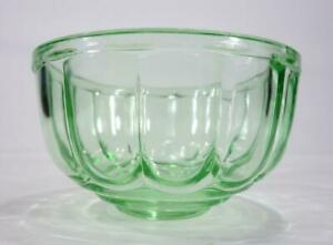 ART DECO GREEN DEPRESSION GLASS JELLY MOULD CROWN CRYSTAL