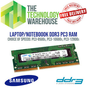 DDR3 Laptop RAM 2GB - PC3 8500s - 10600s - 12800s SODIMM Memory -Samsung Brand
