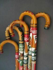 Hand Carved Wooden Cane Walking Stick Mexican Aztec Hand Painted Mexico ONE Cane