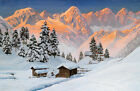 Snow Mountain Scene Oil painting Wall art Canvas Printed on canvas L884