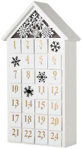 BRUBAKER Advent Calendar - Wooden House - White with LED Lighting