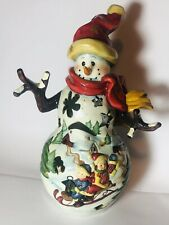 Snowman Luminary Ceramic Tea Light Candle Holder Christmas