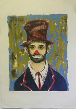 Pascal Cucaro | Clown with Red Nose - Orig. 1950s (S) Signed Silkscreen Print