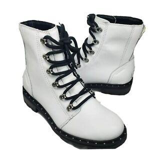 Sorel women Lennox Lace Combat Boots White Waterproof Leather Lug Sole Studs 7.5