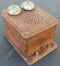 Antique Wood Telephone Ringer Box with Bells, Speaker &Other Internal Parts